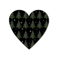 Christmas Tree   Pattern Heart Magnet by Valentinaart