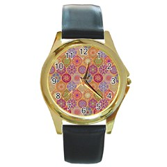 Bohemian Pattern Eye Orange Round Gold Metal Watch by Cveti