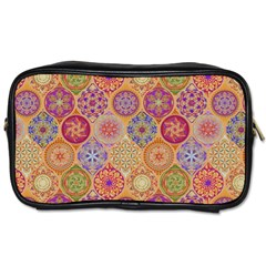 Bohemian Pattern Eye Orange Toiletries Bags 2 Side by Cveti