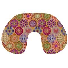 Bohemian Pattern Eye Orange Travel Neck Pillows by Cveti