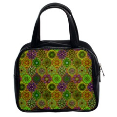 Bohemian Hand Drawing Patterns Green 01 Classic Handbags (2 Sides) by Cveti