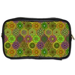 Bohemian Hand Drawing Patterns Green 01 Toiletries Bags 2 Side by Cveti