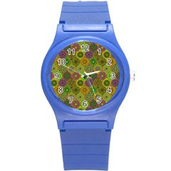 Bohemian Hand Drawing Patterns Green 01 Round Plastic Sport Watch (s) by Cveti