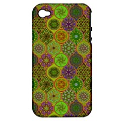 Bohemian Hand Drawing Patterns Green 01 Apple Iphone 4/4s Hardshell Case (pc+silicone) by Cveti