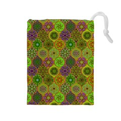 Bohemian Hand Drawing Patterns Green 01 Drawstring Pouches (large)  by Cveti