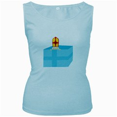 Funny Cute Kids Art St Nicholas St  Nick Sinterklaas Hiding In A Gift Box Women s Baby Blue Tank Top by yoursparklingshop