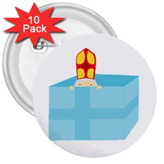 Funny Cute Kids Art St Nicholas St  Nick Sinterklaas Hiding In A Gift Box 3  Buttons (10 Pack)  by yoursparklingshop