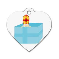 Funny Cute Kids Art St Nicholas St  Nick Sinterklaas Hiding In A Gift Box Dog Tag Heart (two Sides) by yoursparklingshop