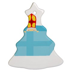 Funny Cute Kids Art St Nicholas St  Nick Sinterklaas Hiding In A Gift Box Ornament (christmas Tree)  by yoursparklingshop