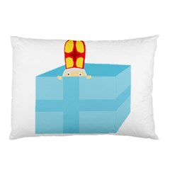 Funny Cute Kids Art St Nicholas St  Nick Sinterklaas Hiding In A Gift Box Pillow Case (two Sides) by yoursparklingshop