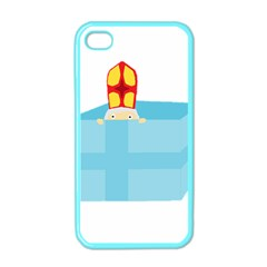 Funny Cute Kids Art St Nicholas St  Nick Sinterklaas Hiding In A Gift Box Apple Iphone 4 Case (color) by yoursparklingshop