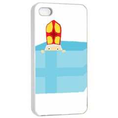 Funny Cute Kids Art St Nicholas St  Nick Sinterklaas Hiding In A Gift Box Apple Iphone 4/4s Seamless Case (white) by yoursparklingshop