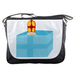 Funny Cute Kids Art St Nicholas St  Nick Sinterklaas Hiding In A Gift Box Messenger Bags by yoursparklingshop