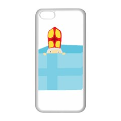 Funny Cute Kids Art St Nicholas St  Nick Sinterklaas Hiding In A Gift Box Apple Iphone 5c Seamless Case (white) by yoursparklingshop