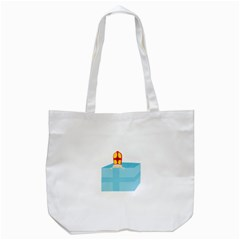Funny Cute Kids Art St Nicholas St  Nick Sinterklaas Hiding In A Gift Box Tote Bag (white) by yoursparklingshop