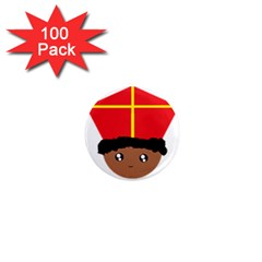 Cutieful Kids Art Funny Zwarte Piet Friend Of St  Nicholas Wearing His Miter 1  Mini Magnets (100 Pack)  by yoursparklingshop