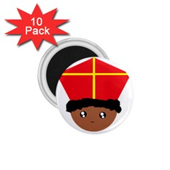 Cutieful Kids Art Funny Zwarte Piet Friend Of St  Nicholas Wearing His Miter 1 75  Magnets (10 Pack)  by yoursparklingshop