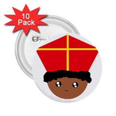 Cutieful Kids Art Funny Zwarte Piet Friend Of St  Nicholas Wearing His Miter 2 25  Buttons (10 Pack)  by yoursparklingshop