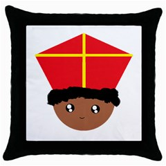 Cutieful Kids Art Funny Zwarte Piet Friend Of St  Nicholas Wearing His Miter Throw Pillow Case (black) by yoursparklingshop