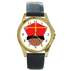 Cutieful Kids Art Funny Zwarte Piet Friend Of St  Nicholas Wearing His Miter Round Gold Metal Watch by yoursparklingshop