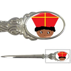 Cutieful Kids Art Funny Zwarte Piet Friend Of St  Nicholas Wearing His Miter Letter Openers by yoursparklingshop