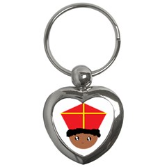 Cutieful Kids Art Funny Zwarte Piet Friend Of St  Nicholas Wearing His Miter Key Chains (heart)  by yoursparklingshop