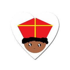 Cutieful Kids Art Funny Zwarte Piet Friend Of St  Nicholas Wearing His Miter Heart Magnet by yoursparklingshop