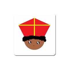 Cutieful Kids Art Funny Zwarte Piet Friend Of St  Nicholas Wearing His Miter Square Magnet by yoursparklingshop