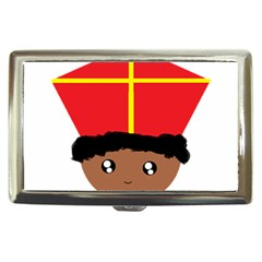 Cutieful Kids Art Funny Zwarte Piet Friend Of St  Nicholas Wearing His Miter Cigarette Money Cases by yoursparklingshop