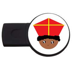 Cutieful Kids Art Funny Zwarte Piet Friend Of St  Nicholas Wearing His Miter Usb Flash Drive Round (2 Gb) by yoursparklingshop