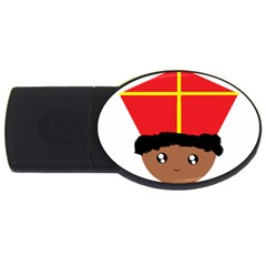 Cutieful Kids Art Funny Zwarte Piet Friend Of St  Nicholas Wearing His Miter Usb Flash Drive Oval (2 Gb) by yoursparklingshop