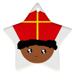 Cutieful Kids Art Funny Zwarte Piet Friend Of St  Nicholas Wearing His Miter Star Ornament (two Sides) by yoursparklingshop