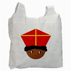 Cutieful Kids Art Funny Zwarte Piet Friend Of St  Nicholas Wearing His Miter Recycle Bag (two Side)  by yoursparklingshop