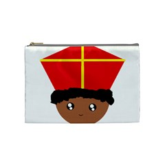 Cutieful Kids Art Funny Zwarte Piet Friend Of St  Nicholas Wearing His Miter Cosmetic Bag (medium)  by yoursparklingshop