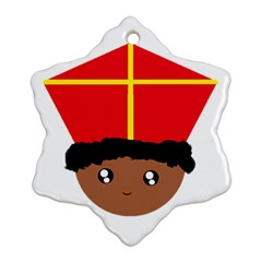 Cutieful Kids Art Funny Zwarte Piet Friend Of St  Nicholas Wearing His Miter Snowflake Ornament (two Sides) by yoursparklingshop