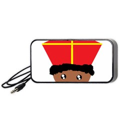 Cutieful Kids Art Funny Zwarte Piet Friend Of St  Nicholas Wearing His Miter Portable Speaker by yoursparklingshop