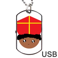 Cutieful Kids Art Funny Zwarte Piet Friend Of St  Nicholas Wearing His Miter Dog Tag Usb Flash (one Side) by yoursparklingshop