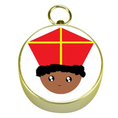 Cutieful Kids Art Funny Zwarte Piet Friend Of St  Nicholas Wearing His Miter Gold Compasses by yoursparklingshop