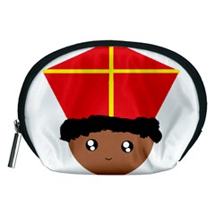 Cutieful Kids Art Funny Zwarte Piet Friend Of St  Nicholas Wearing His Miter Accessory Pouches (medium)  by yoursparklingshop