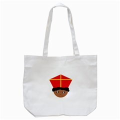 Cutieful Kids Art Funny Zwarte Piet Friend Of St  Nicholas Wearing His Miter Tote Bag (white) by yoursparklingshop