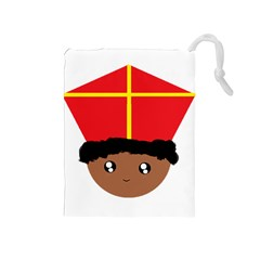 Cutieful Kids Art Funny Zwarte Piet Friend Of St  Nicholas Wearing His Miter Drawstring Pouches (medium)  by yoursparklingshop