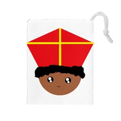Cutieful Kids Art Funny Zwarte Piet Friend Of St  Nicholas Wearing His Miter Drawstring Pouches (large)  by yoursparklingshop