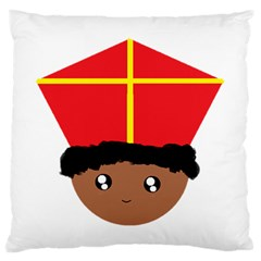 Cutieful Kids Art Funny Zwarte Piet Friend Of St  Nicholas Wearing His Miter Large Flano Cushion Case (two Sides) by yoursparklingshop