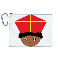 Cutieful Kids Art Funny Zwarte Piet Friend Of St  Nicholas Wearing His Miter Canvas Cosmetic Bag (xl) by yoursparklingshop