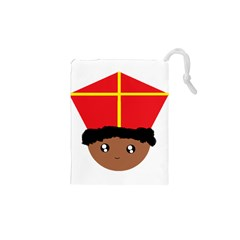 Cutieful Kids Art Funny Zwarte Piet Friend Of St  Nicholas Wearing His Miter Drawstring Pouches (xs)  by yoursparklingshop