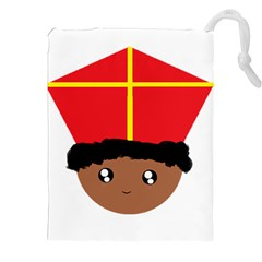 Cutieful Kids Art Funny Zwarte Piet Friend Of St  Nicholas Wearing His Miter Drawstring Pouches (xxl) by yoursparklingshop