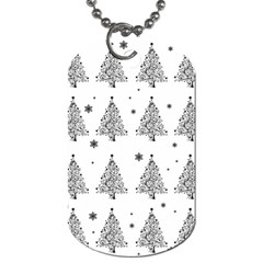 Christmas Tree   Pattern Dog Tag (one Side) by Valentinaart