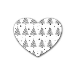 Christmas Tree   Pattern Rubber Coaster (heart)  by Valentinaart