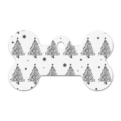 Christmas Tree   Pattern Dog Tag Bone (two Sides) by Valentinaart