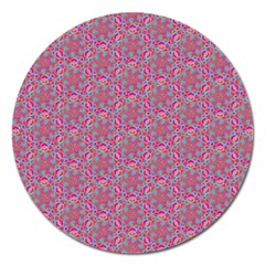 Whirligig Pattern Hand Drawing Pink 01 Magnet 5  (round) by Cveti